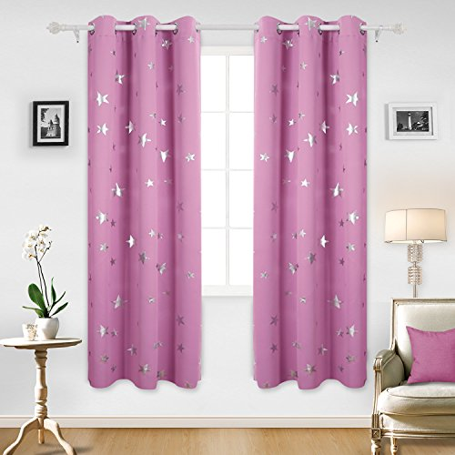 Deconovo Solid Thermal Insulated Blackout Curtains for Girls Room with Silver Star Print 52 By 84 Inch Pink 1 Pair