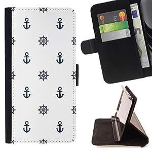 Dragon Case- Mappen-Kasten-Prima caja de la PU billetera de cuero con ranuras para tarjetas, efectivo Compartimiento desmontable y correa para la mu?eca FOR Samsung Galaxy S5 Mini SG870a, SM-G800- Anchor Boat Pattern