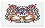 Best Ambesonne Masquerade Masks - Ambesonne Mardi Gras Doormat, Venetian Carnival Mask Silhouette Review