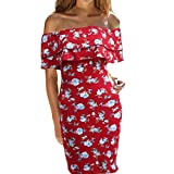 Tsmile Women Dress Clearance Summer Fashion Ladies Off Shoulder Printed Knee Length Dress Loose Party Dress (Red, 2XL)