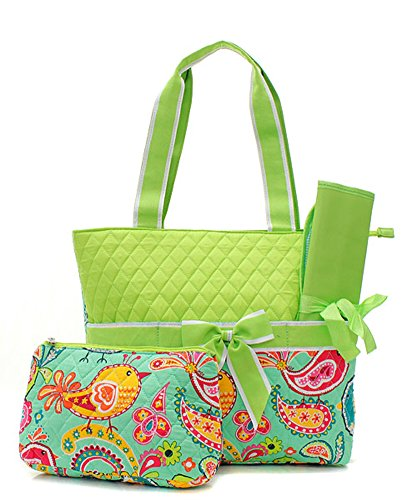 Quilted Lime Color Bird Outdoor Theme Print Monogrammable 3 Piece Diaper Bag With Changing Pad Tote Bag