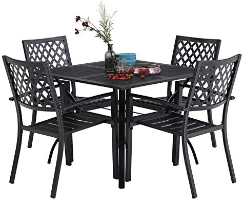MFSTUDIO 5 Piece Black Metal Outdoor Patio Dining Bistro Set