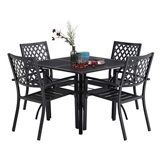 Garden and Outdoor MFSTUDIO 5 Piece Black Metal Outdoor Patio Dining Bistro Set with 4 Armrest Chairs and Steel Frame Slat Larger Square… patio dining sets