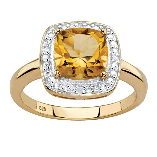 Genuine Cushion-Cut Yellow Citrine Diamond Accent 14k Gold over .925 Silver Halo (Gold Citrine Cocktail)