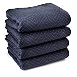 Sure-Max 4 Moving & Packing Blankets - Pro Economy - 80'' x 72'' (35 lb/dz weight) - Professional Quilted Shipping Furniture Pads Navy Blue and Black