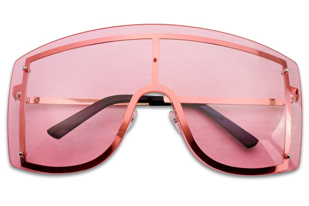 SunglassUP XL Oversized 155mm Rimless Shield Colored Lens Big Sunglasses for Women (Gold Frame, Pink) by SunglassUP