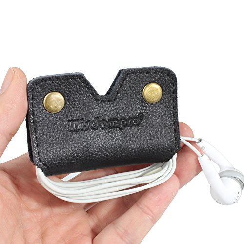 Earphone Holder, Cable Cord Organizer; Wisdompro 1 Pack Genuine Leather Headphone Earbud Wrap Winder / Cord Manager - Black