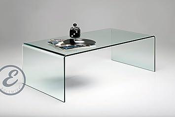Tavolino basso da salotto rettangolare in vetro curvato 110 x 43 x ...