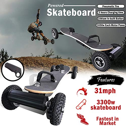 SuperbProductions 31MPH Off Road Electric Skateboard - Motorized Mountain Longboard with Dual Motors - 11 Layers Canadian Maple, All-Terrain, 4 Wheels, Remote Controlled High Speed Board