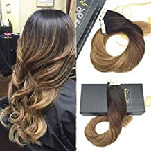 Sunny 14inch Full Head Hair Extensions Tape in Hair Extensions Ombre Darkest Brown to Medium Brown Mixed Caramel Blonde Skin Weft Human Hair 20pc 50G