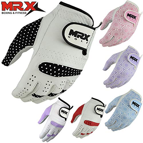 MRX BOXING & FITNESS Womens Golf Glove Soft Cabretta Leather Regular Fit Women Golfer Gloves Left Hand (White/Black-Medium)
