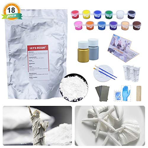 High-Density Statue Molding Kit, 1 Pound DIY Hand Casting Kit with 14 Colors Acrylic Paint, Paint Brush,for Gypsum Statue and DIY Statue Craft.