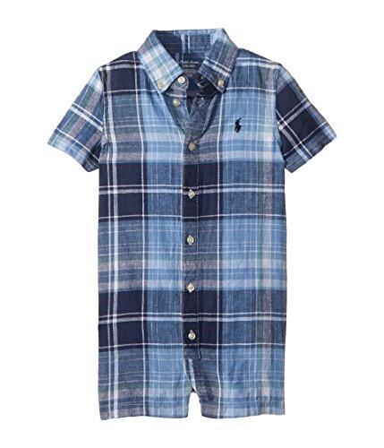 Ralph Lauren Baby Boy Plaid Linen-Cotton Shortall Blue Multi (12 Months)