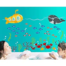 Ocean Submarine Fish Wall Decal Home Sticker House Decoration WallPaper Removable Living Dinning Room Bedroom Kitchen Art Picture Murals DIY Stick Girls Boys kids Nursery Baby Playroom Decoration