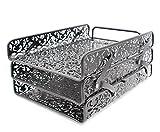 EasyPAG 3 Tier Desk Tray Carved Hollow Flower Pattern Design Triple Letter Tray,Black