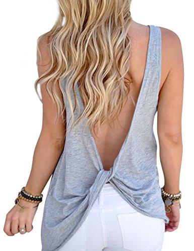 Assivia Womens Sexy Backless Yoga Tank Tops Open Back Sport T Shirt Vest Small (Summer Wear For Women)