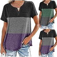 Zainafacai Women's Summer Tops Fashion Stripe Tees Casual Short Sleeve Loose Fit Workout Shirts Blouses Wo