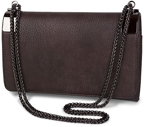 Brown evening clasp and clutch Old Dark vintage Rose plain 02012046 Dark coil chain bag ladies styleBREAKER with metal Color design qX5xFHppw