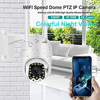 WiFi Outdoor Security Wireless Camera,Unine HD 1080P PTZ 4X Zoom Dome Surveillance System with IR Motion Detection,Waterproof, Motion Alarm,50M Night Vision Cam for Baby/Elder/Pet/Nanny Monitor