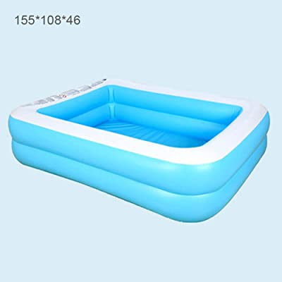 MSKJ Baby Kid Inflatable Swimming Pool Paddling Pool Large Size Thickened Square Swimming Pool: Home & Kitchen