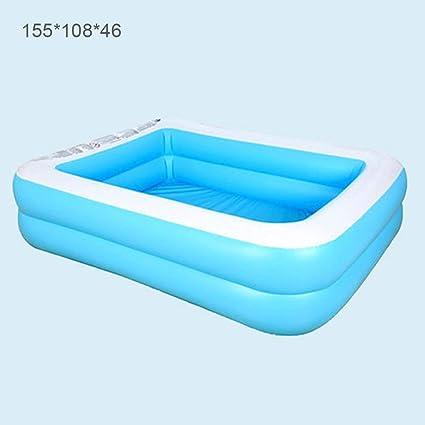 Qwertyu - Piscina hinchable para familias, color azul rectangular ...