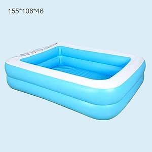 Qwertyu - Piscina hinchable para familias, color azul rectangular 5 tamaños a elegir: Amazon.es: Deportes y aire libre