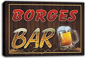 scw3-003196 BORGES Name Home Bar Beer Mugs Stretched Canvas Print Sign