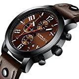 Watch Business Quartz Men's Casual Chronograph Date Fashion Wrist Watches Waterproof Unique Leather Brown Watch