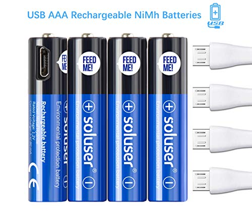 AAA Rechargeable Batteries, USB Rechargeable AAA Batteries 500mAh with 4 USB Ports High Capacity 1.2V Ni-MH Recyclable Recharge Battery by USB Cable(4 Count)
