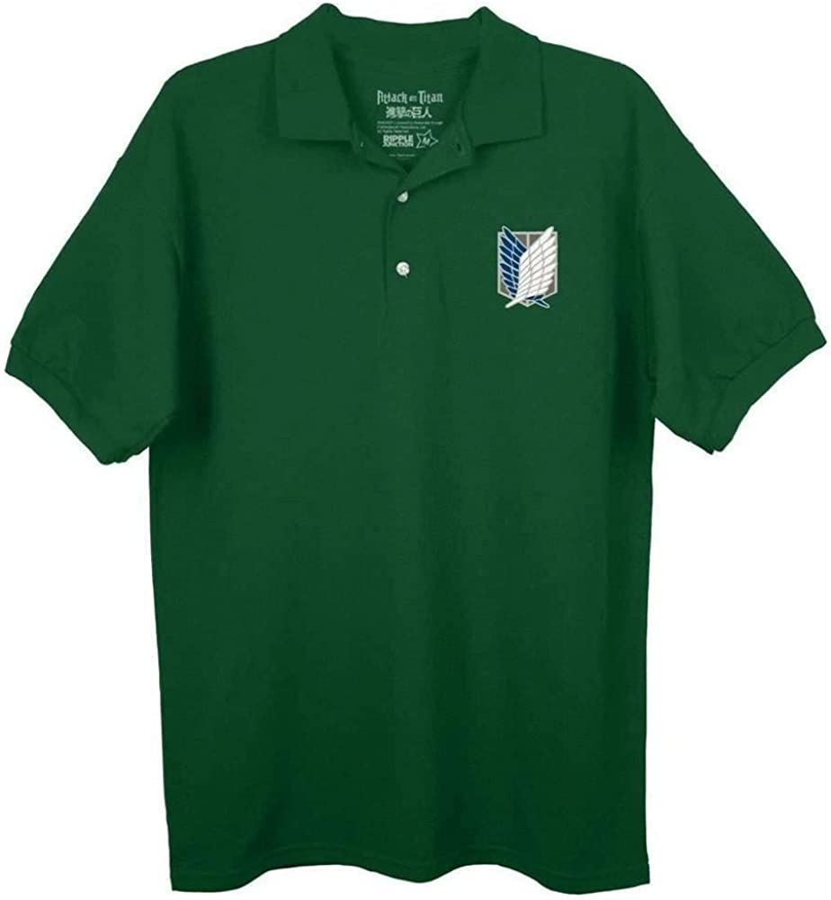 Ripple Junction Attack On Titan Survey Corps Logo Camisa de Polo Verde | S: Amazon.es: Ropa y accesorios