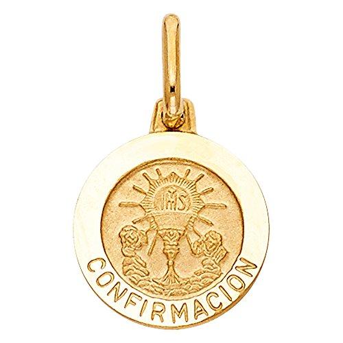 Wellingsale 14K Yellow Gold Polished Religious Holy Communion Medallion