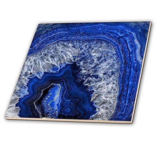 Indigo Tile - 3dRose Uta Naumann Pattern - Image of Luxury Blue Indigo Marble Agate Gem Mineral Stone - 4 Inch Ceramic Tile (ct_274958_1)