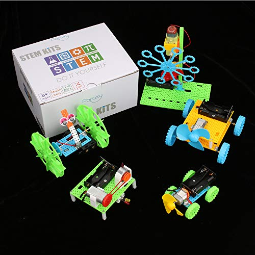 5 Set STEM Kit,DC Motors Electronic Assembly Kit for Kids STEM Toys Intro to Engineering, Mini Cars, Circuit Building DIY Science Experiments Projects for Boys and Girls]()