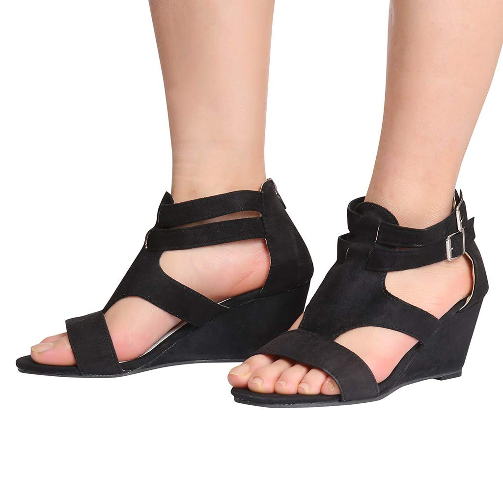 Lurryly Women Sandals Summer Wedges Retro Casual Shoes Strap Gladiator Roman Sandals