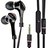 Alpatronix EX120 High Performance Tangle Free In-Ear Headphones and Zinc Alloy Headset with Universal 1-Button Control and Built-In Microphone / Built-In Subwoofer (Comes with Carrying Pouch and 3 Rubber Eargels) – (Black)