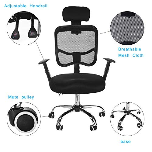 Executive Computer Office Home Task Adjustable Swivel Chair Stool with Arms,Breathable Mesh,Ergonomic Headrest and Lumbar Support(Ship from US!) by Toxz office products (Image #6)