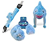 Puzzled Dolphin Collection - Super Soft Plush Neck Pillow, Hat and Safety Belt, Set of 3