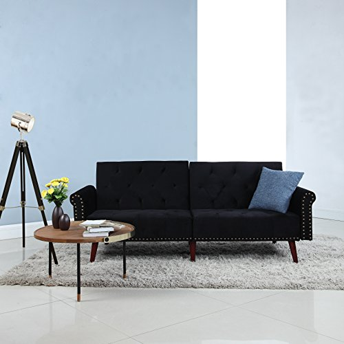 DIVANO ROMA FURNITURE Modern Tufted Velvet Splitback Recliner Sleeper Futon Sofa with Nailhead Trim (Black)