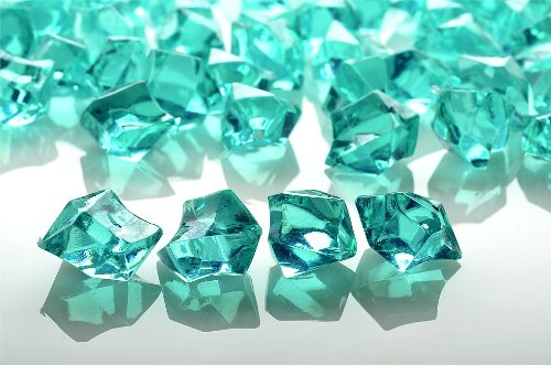 PaperLanternStore.com Teal Colored Gemstones Acrylic Crystal Wedding Table Confetti Vase Filler (3/4 lb Bag) (Tables Colored Accent)