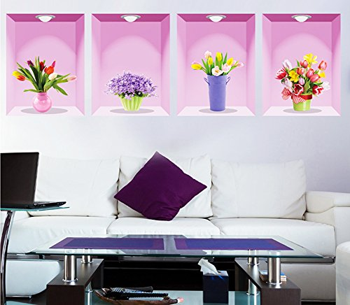 3D Flowers Vases Wall Windows Decal Stickers Vinyl Wall Decor PVC Removable Mural Wallpaper DIY for Home Decor Restaurant Store Decoration, Set of 4 (Potted plant(pink)) (Vase Vinyl)