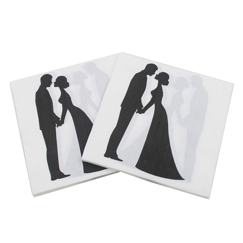 Kafen Paper Napkin 20 Sheets//Bag Creative Couples Bride Groom Paper Napkins Guest Wedding Party Tableware Decoration Supply