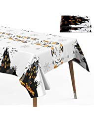 Halloween Party Tablecloth, 2-Pack 52 x 108in Rectangle Halloween Table Covers Premium Plastic Disposable Tablecloth w/ Halloween Haunted House for Halloween Party Decorations