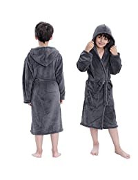 Hooded Herringbone Boys Fleece Grey Soft Spa Kimono Long Robe,Kids Comfy Sleepwear Bathrobe