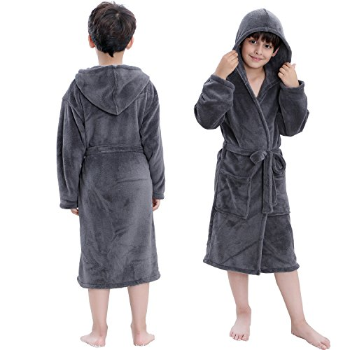 Hooded Herringbone Boy's Fleece Grey Soft Spa Kimono Long Robe,Kids Comfy Sleepwear Bathrobe(6-7 Year) -
