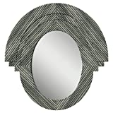 PTM Western Rustic Wood Oval Mirror - Gray