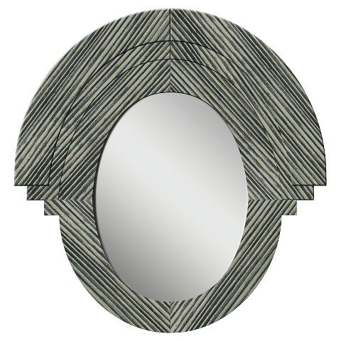 PTM Western Rustic Wood Oval Mirror - Gray by TMP
