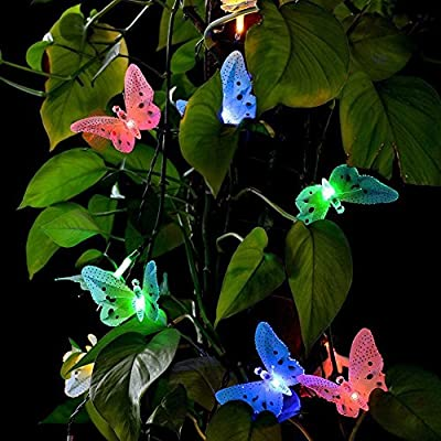 Butterfly Solar Lights, 12 Led Solar Powered Stake Light Fiber Optic Fairy String , Multi-color Changing LED Light for Garden, Lawn, Patio, Wedding, Party, Bedroom, Outdoor, FAVOLOOK