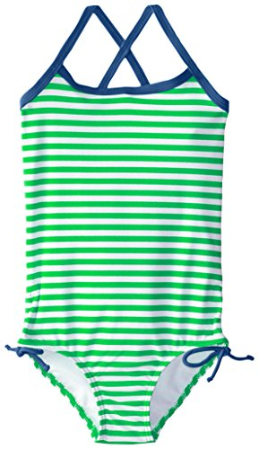 (Kanu Surf Little Girls' Bali Beach Sport Banded One Piece Swimsuit, Green Stripe, 6)