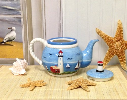 "Tuscan Island Lighthouse Hand Painted Teapot 9-1/4""H 32oz, 81517 by ACK"