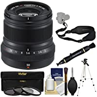 Fujifilm 50mm f/2.0 XF R WR Lens (Black) with 3 UV/CPL/ND8 Filters + Tripod + Strap + Kit